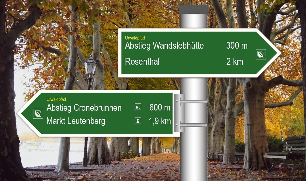 grüne Pfeilschilder nach rechts und links