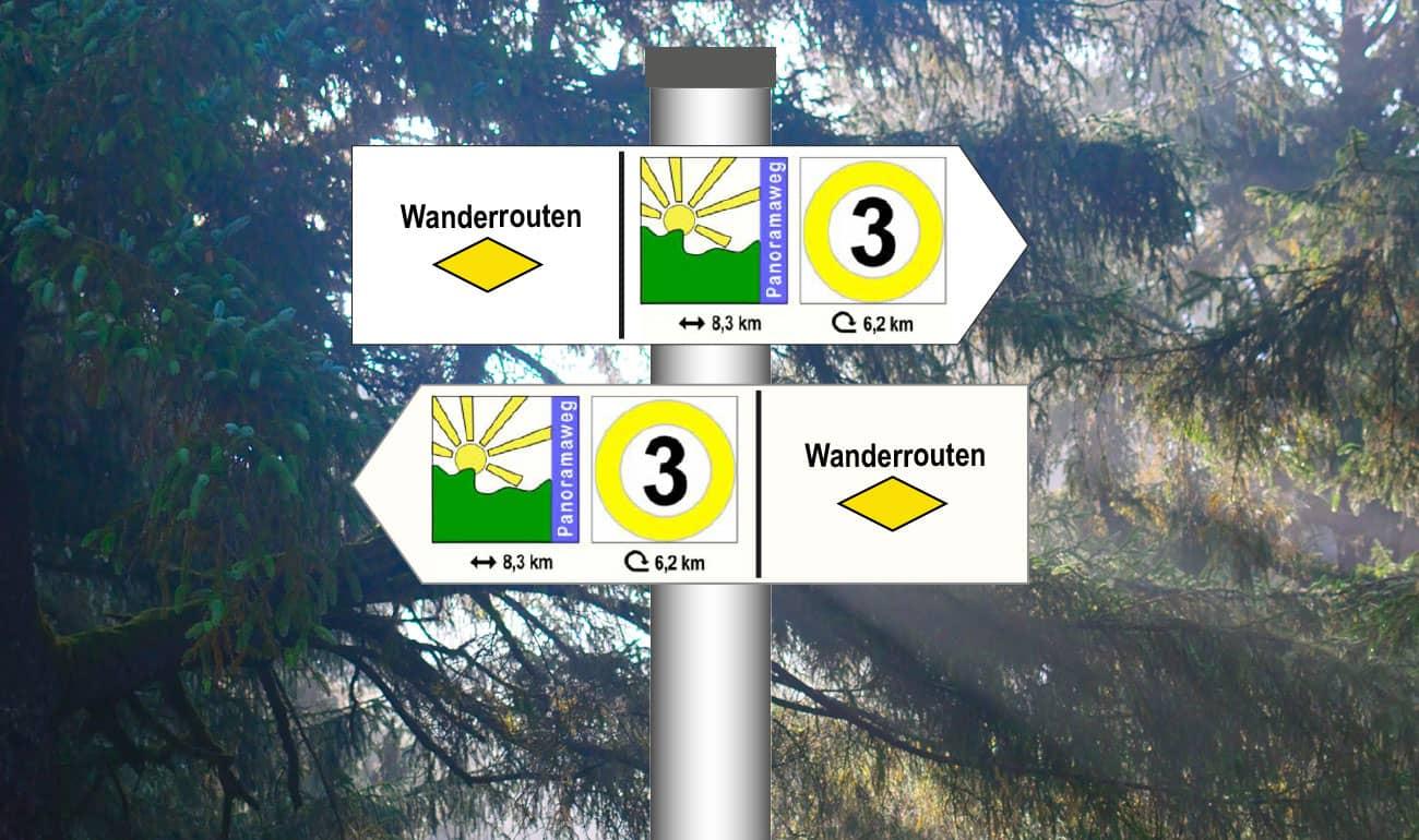 weiße Pfeilschilder nach links und rechts