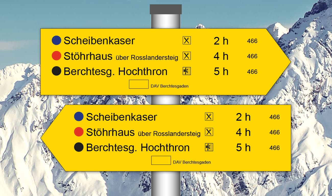 gelbe Pfeilschilder nach links und rechts weisend mit Beschriftung