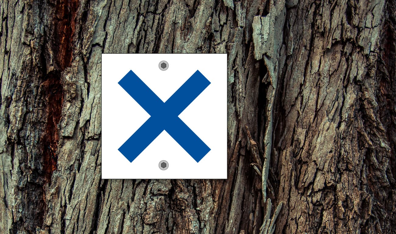 weißes Quadrat mit blauem Kreuz auf Baumstamm
